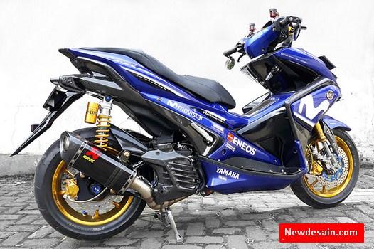 100 Gambar Desain Modifikasi Motor Yamaha Aerox Movistar Keren Lagi Hits