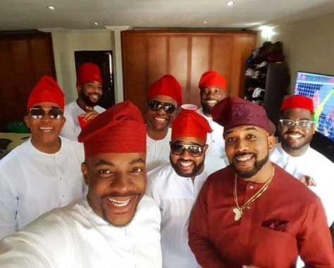 Banky W & Adesua Etomi Wedding Introduction: Banky W Pictured With Olamide, Demuren And Others