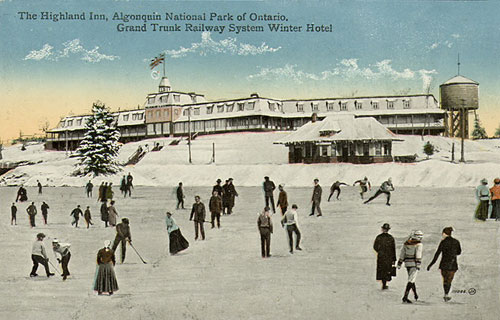vintage photo of people skating in front of a hotel in Algonquin Park
