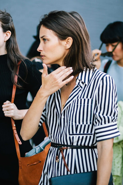 Maria Duenas Jacobs wearing stripes at Fashion Week New York