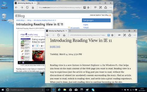 Novità browser Edge Windows 10 modalità lettura