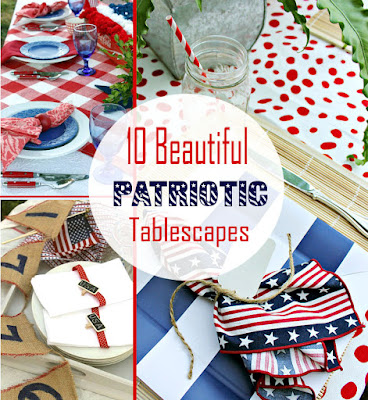 red white and blue tablescapes for Memorial and Fourth of July days