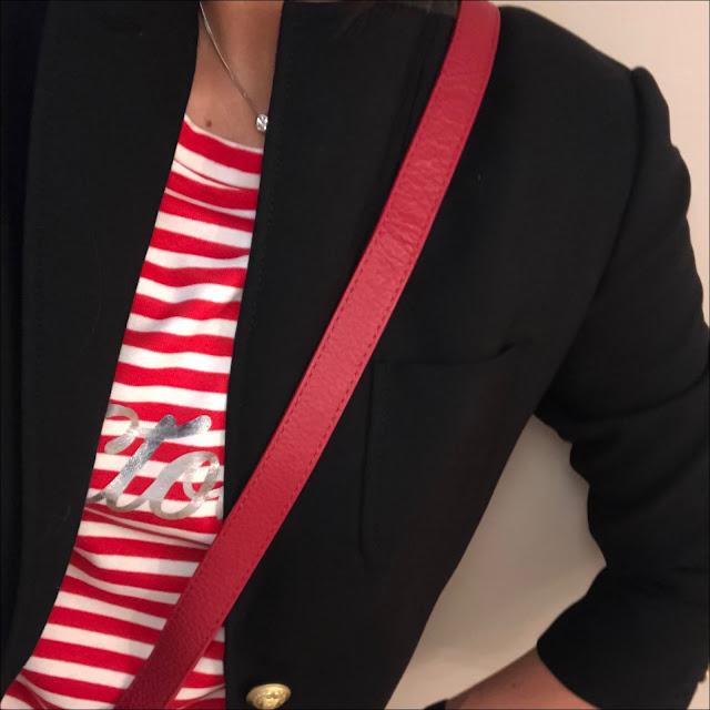 My Midlife fashion, j crew rhodes blazer, bon marche stripe sweat top, village england sway across body bag, zara distressed cigarette length jeans, french sole india leopard print ballet shoes