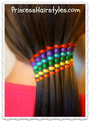 Waterfall Ribbon Twist Rainbow Ponytail