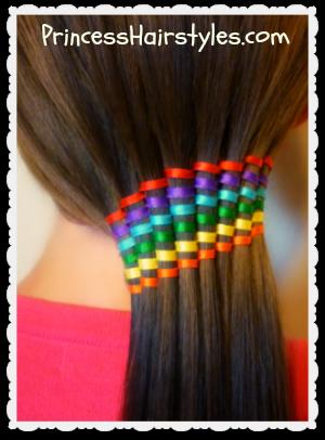 Waterfall Ribbon Twist Rainbow Ponytail