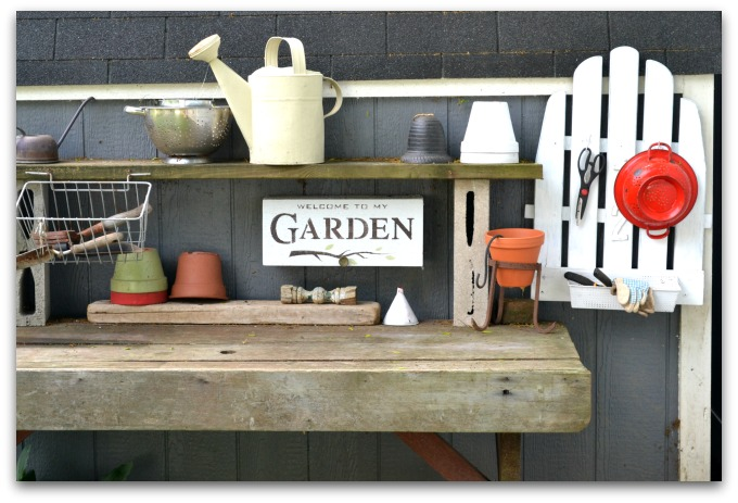 An Adirondack chair repurposed makes great potting bench organization. Homeroad.net