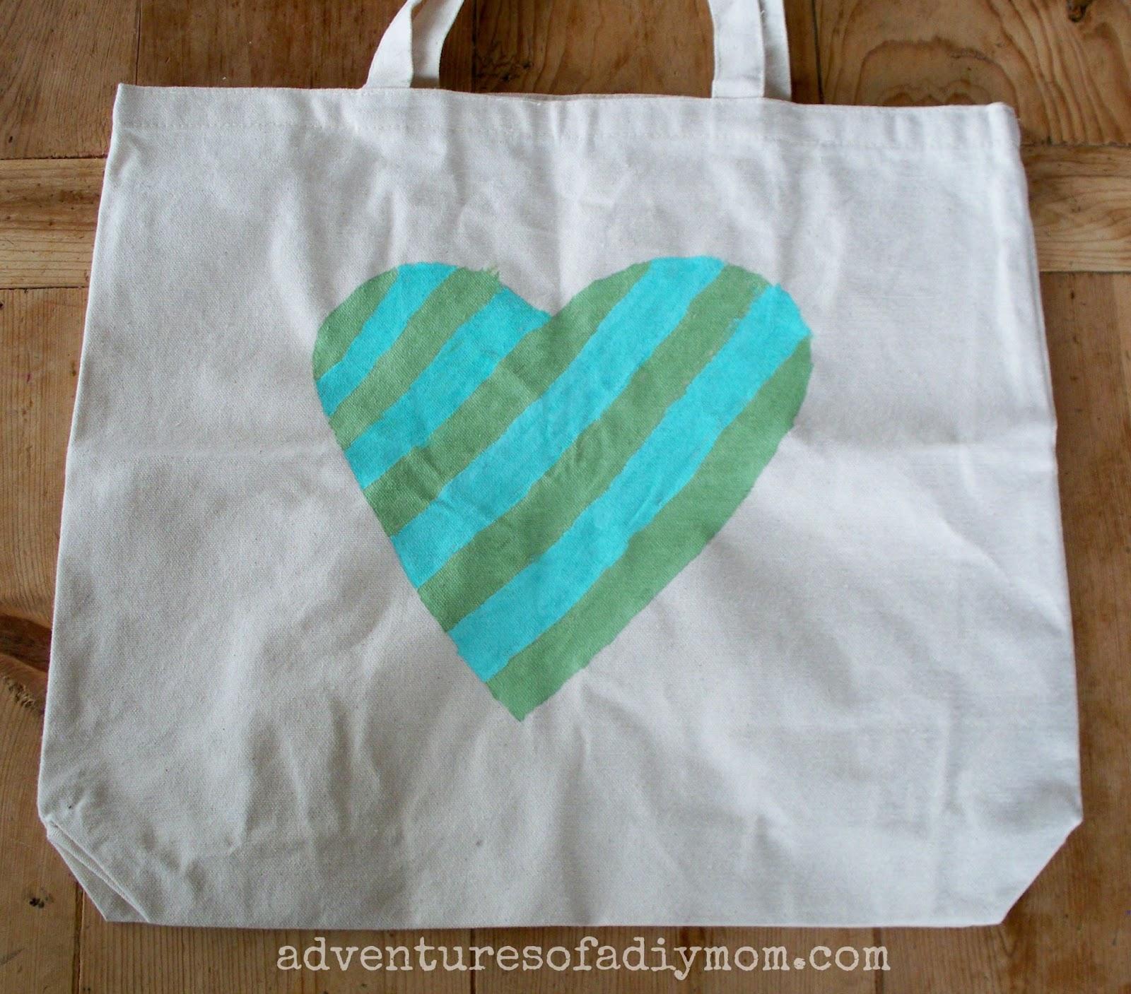 DIY Painted Heart Canvas Bag