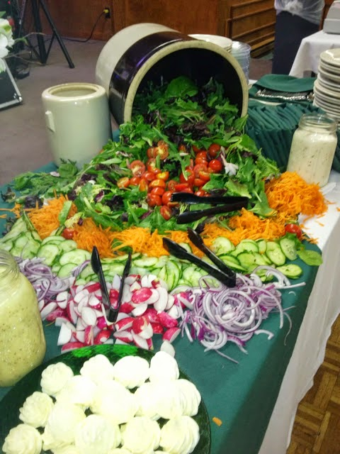 Large salad buffet of greens and vegetables