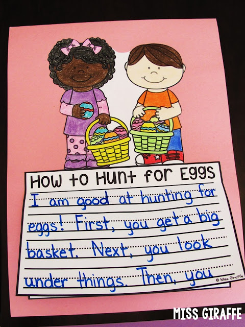 How to Hunt for Eggs is a perfect Easter writing prompt to practice how to writing all in a fun no prep craft - all you do is print and students write, color, cut, and glue for a super easy April bulletin board