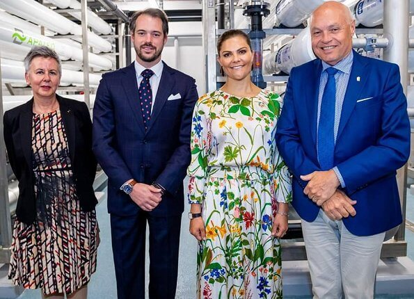 Crown Princess Victoria wore Rodebjer irmaline floral print top and skirt. Caroline Svedbom gold earrings. Prince Felix of Luxembourg