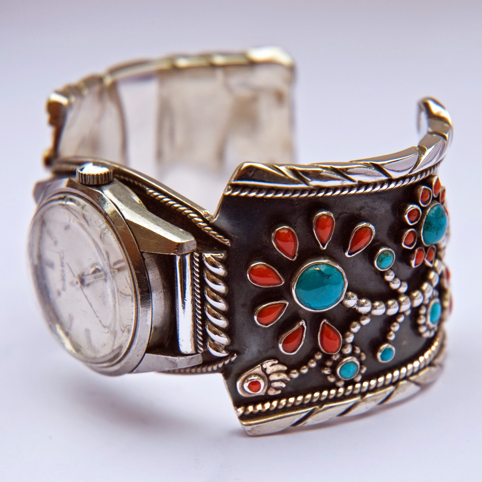 Ojibwe floral design wristwatch cuff band
