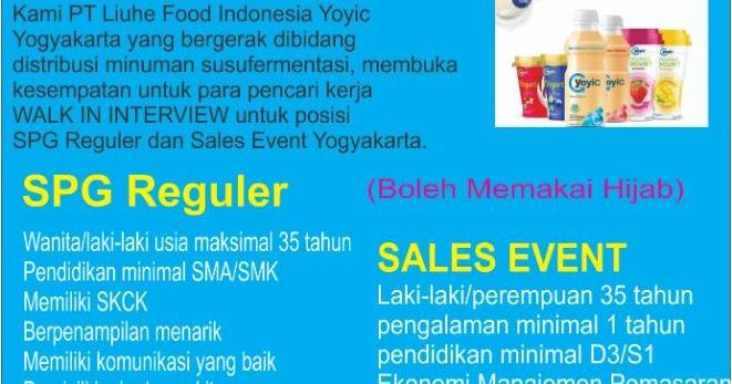 Lowongan Kerja Spg Reguler Sales Event Di Pt Liuhe Food Indonesia Yoyic Maret 2019 Loker Swasta