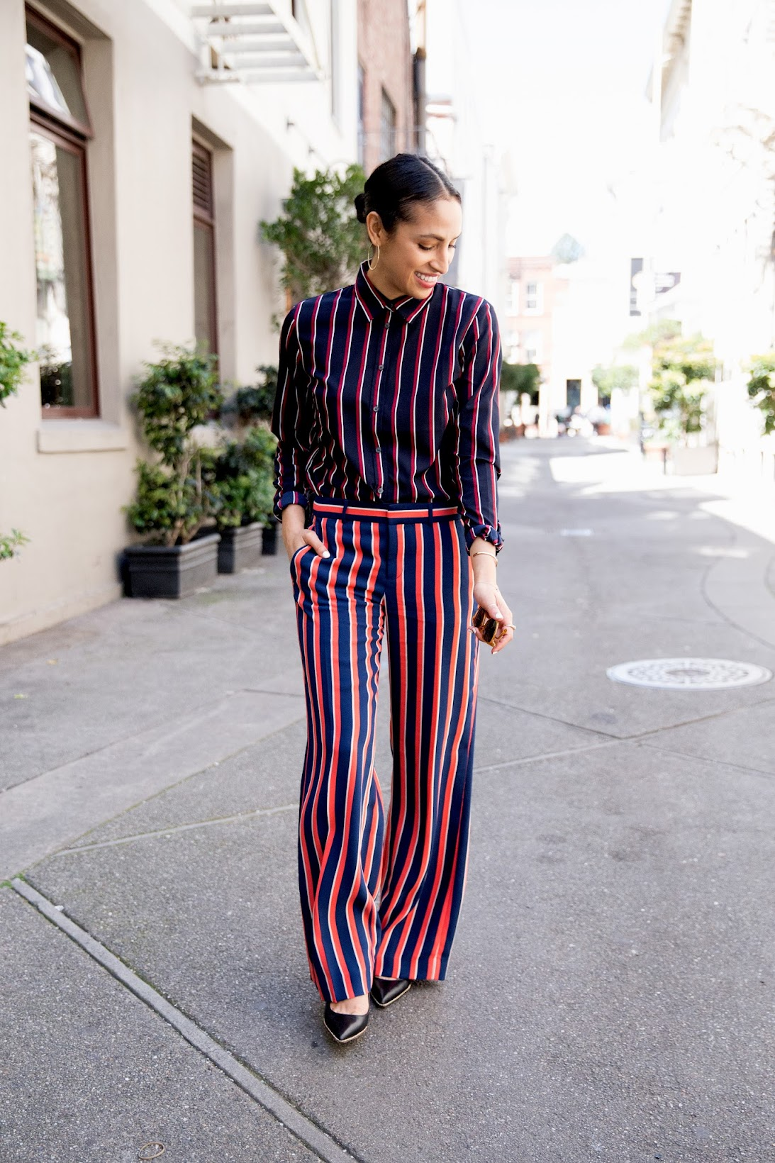 Banana Republic, stripes on stripes, what moves me, sponsored post , work chic looks
