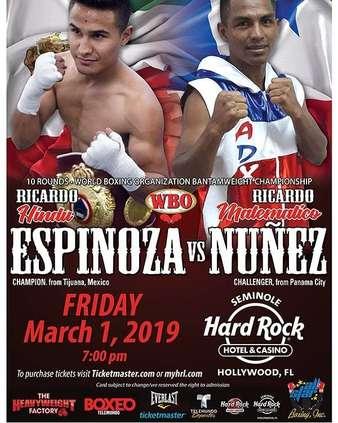 Ricardo Espinoza vs. Ricardo Nunez Headlines Boxeo