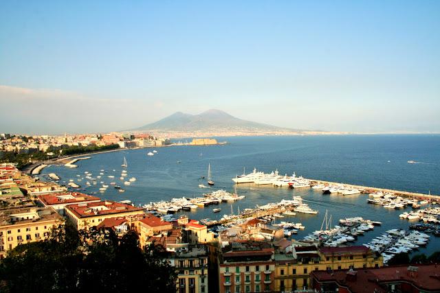 porto, mare, barche, palazzi, cielo, Vesuvio, alberi, veduta, Napoli