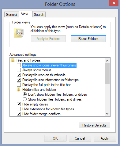 Folder option view