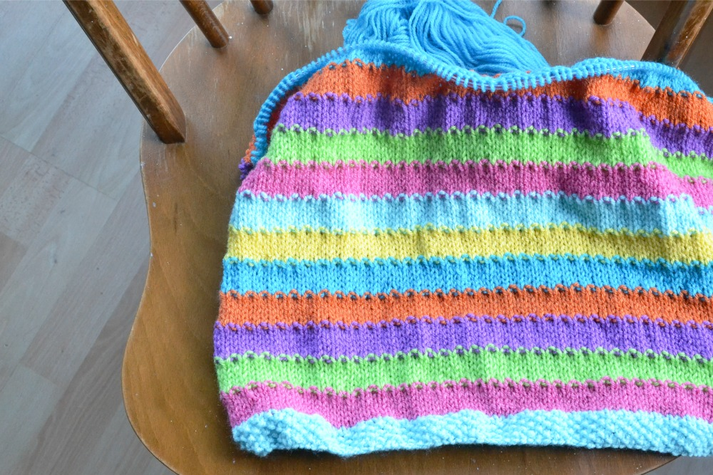 rainbow coloured yarn baby blanket striped knitted