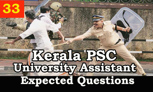 Kerala PSC : Expected Question for University Assistant Exam - 33