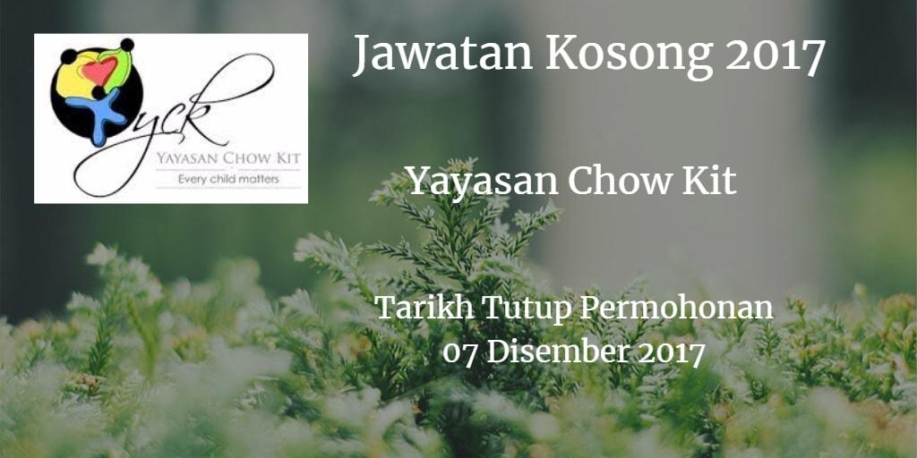 Jawatan Kosong Yayasan Chow Kit  07 Disember 2017