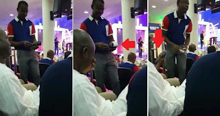 photos of church members paying tithes with POS