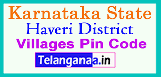 Haveri District Pin Codes in Karnataka State