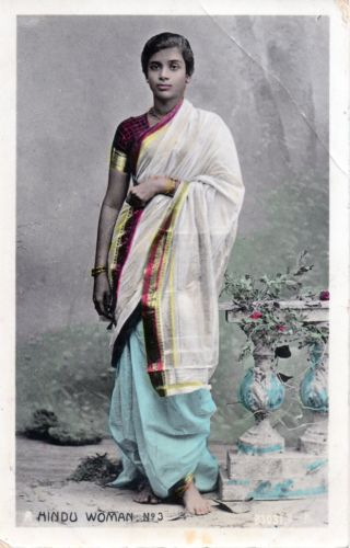 Hindu Woman in Sari, Hand Coloured Postcard - c1910