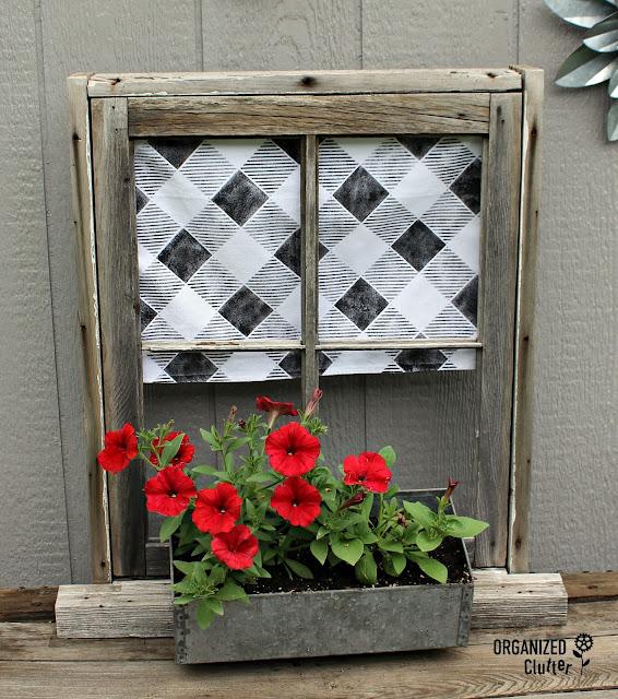 Weathered Window Frame Planter #containergarden #junkgarden #oldsignstencils #buffalocheck #supertunia