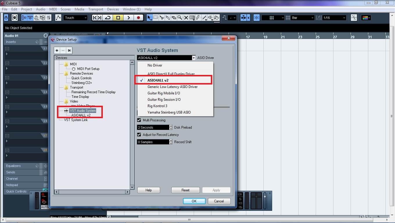 setting cubase 5, cubase, belajar rekaman, home recording, setting awal cubase