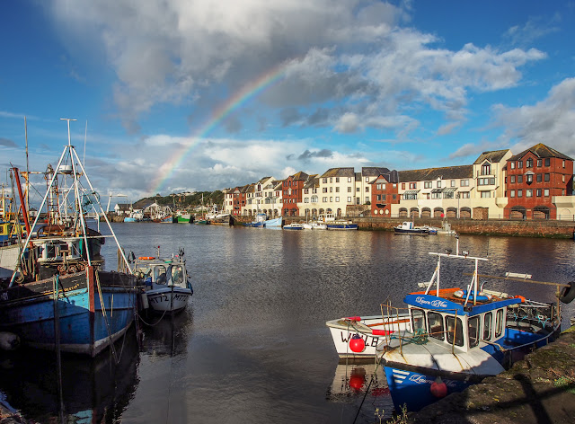 Photo of a rainbow over Maryport Harbour
