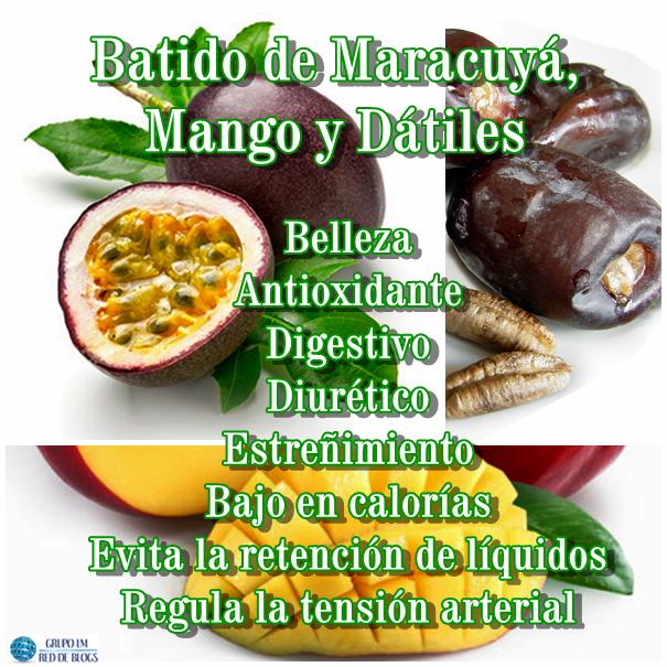 Batido de Maracuyá, Mango y Dátiles