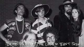 A young David Peel (left) with his band, the Lower East Side, including Harold C. Black (right), circa 1968.