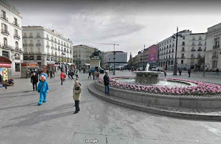 Puerta del Sol is a public square in Madrid, one of the busiest places in Madrid