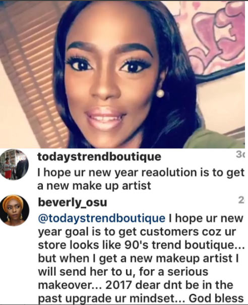 Beverly Osu claps back on follower for critisizing her makeup