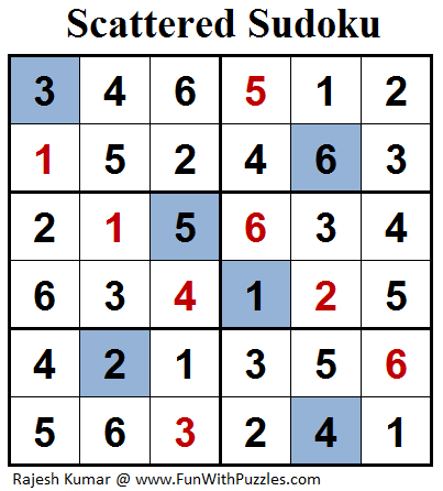 Scattered Sudoku (Mini Sudoku Series #90) Solution