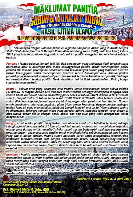Panitia Shalat Subuh di GBK Keluarkan Maklumat Minta Maaf dan Instruksi kepada Jamaah yang Shalatnya Salah Supaya Mengqadla