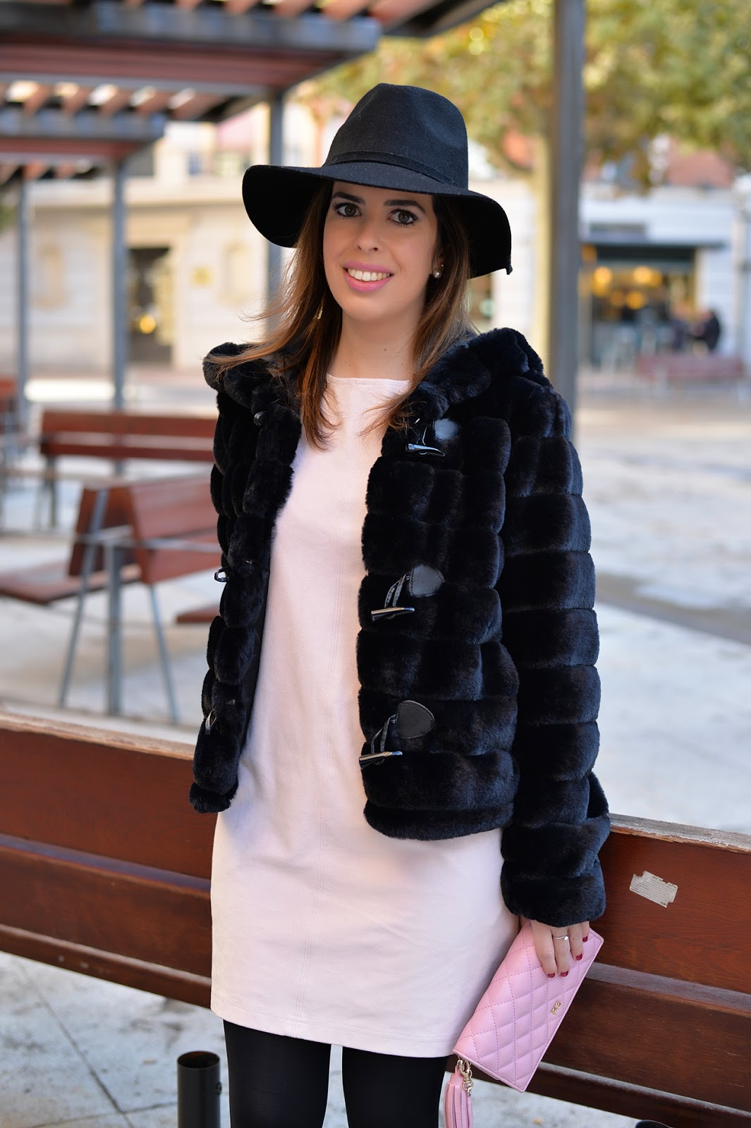 a61493649651 pink faux suede dress and a black faux fur coat holiday outfit