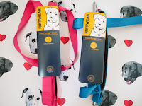 two ruffwear leads one pink and one blue on white background