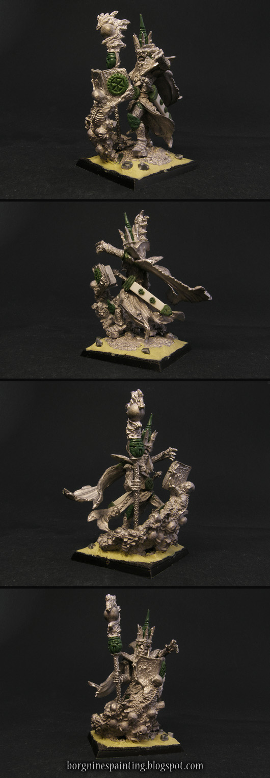 A single Necromancer Lord miniature from Avatars of War, sculpted by Gary Morley, on a square base, converted to be used as powerful Liche character in WFB or AoS. The whole miniature is made out of metal, with converted elements visible as white plasticard and green greenstuff. The whole model is seen from several angles.