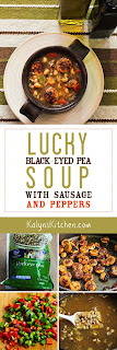 Lucky Black-Eyed Soup with Chicken-Garlic Sausage and Bell Peppers from KalynsKitchen.com