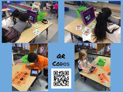 students using qr codes