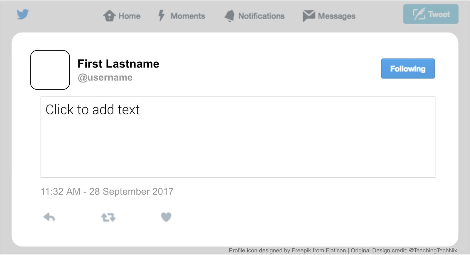 twitter post template