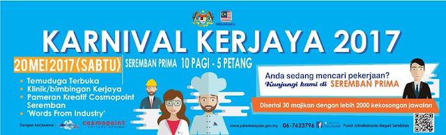 Senarai Penuh Jawatan Karnival Kerjaya 2017 Negeri Sembilan pada 20 Mei 2017 Anjuran JobsMalaysia Negeri Sembilan