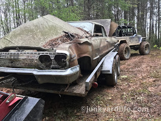 Back in the 1970s older cars did not have much value once wrecked. This one was basically scrapped out for the engine.
