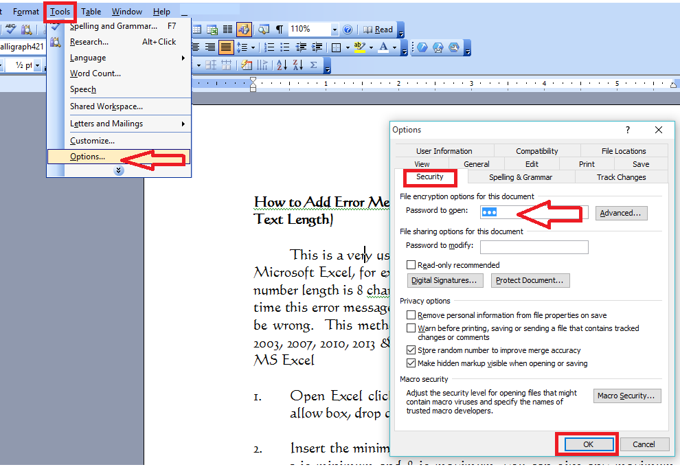 Learn new things how to set password to open files for ms - Signe different open office ...