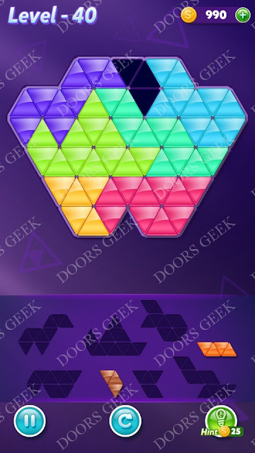 Block! Triangle Puzzle Advanced Level 40 Solution, Cheats, Walkthrough for Android, iPhone, iPad and iPod