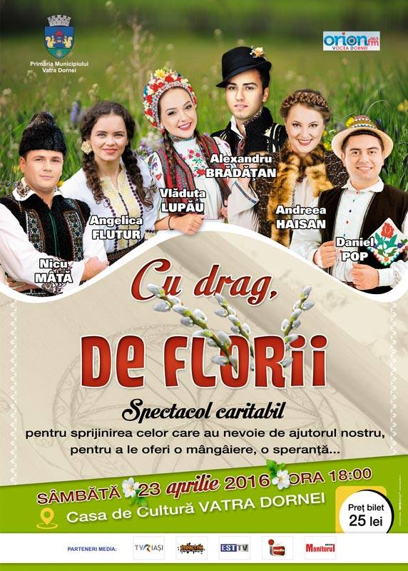 """Spectacolul caritabil """"CU DRAG, DE FLORII"""" are loc mâine la Casa de Cultură"""
