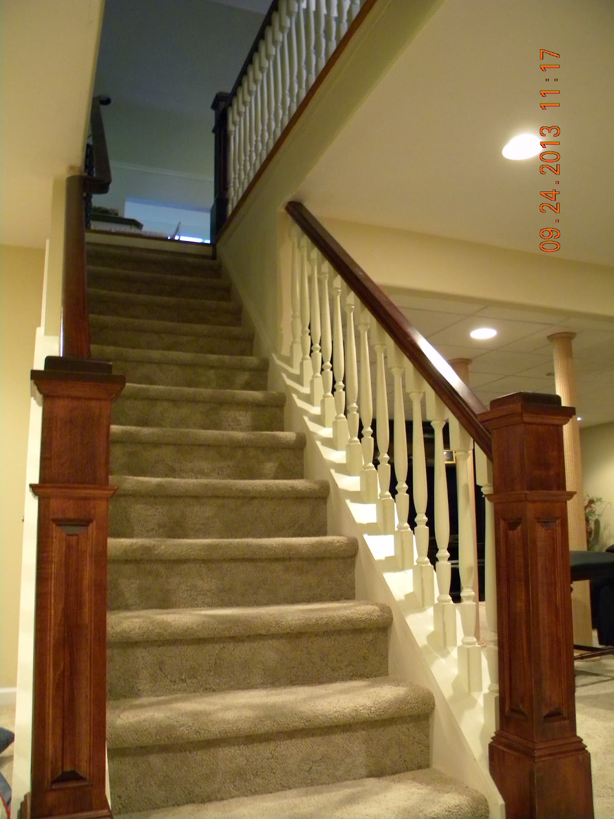 Wood Stairs and Rails and Iron Balusters: New Stair and
