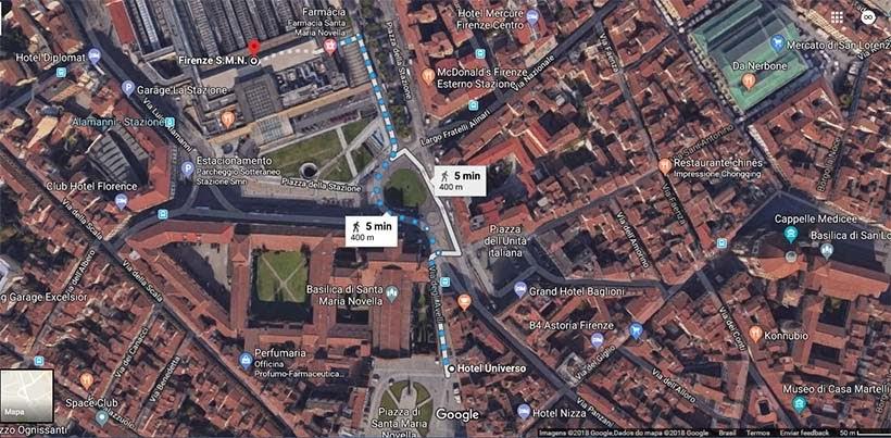 Mapa Hotel Universo  - Diário de bordo - 2 dias em Florença