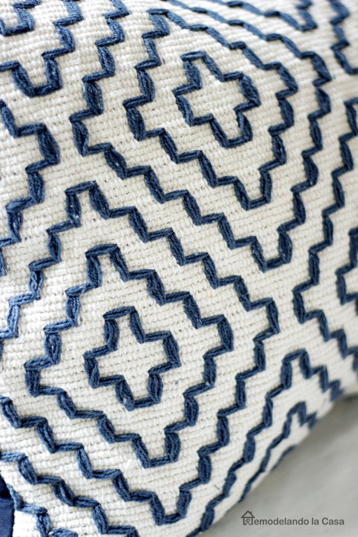 white and blue area rug turned into pillow cases