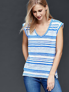 Slub Stripe Roll-Sleeve Tee $5 (reg $27)